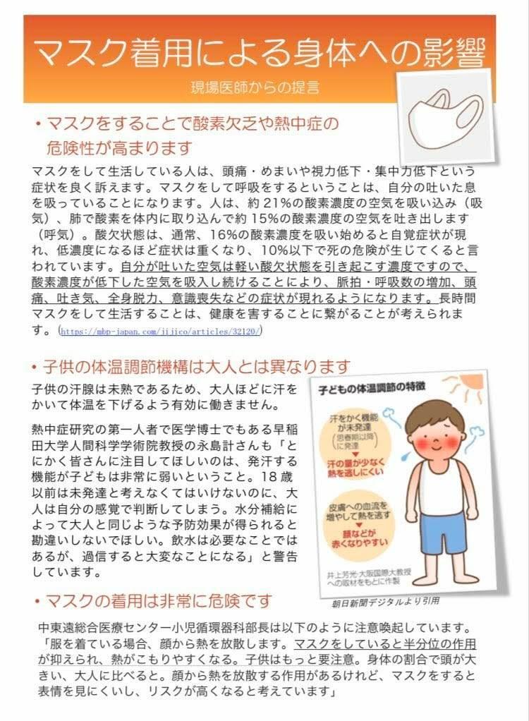マスク着用による身体への影響